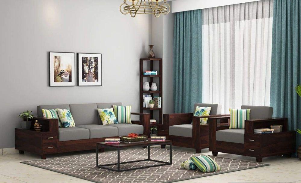 Balaji Furniture Wooden Sofa Set for Living Room | 5 Seater Sofa Set 3+1+1 | Sheesham Wood, Walnut Finish