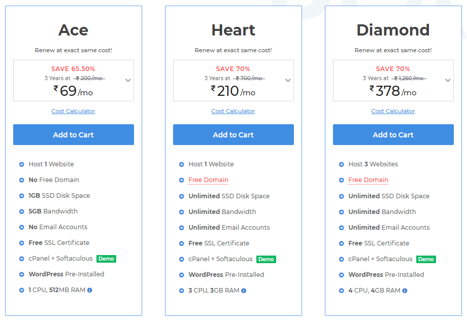 Miles web hosting plans and pricing by grabitonce.in Grab It Once